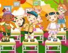 六个小朋友在凳子上跳舞